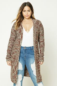Forever 21+ - A midweight marled, purl knit longline cardigan featuring an open front, long sleeves, and front patch pockets.
