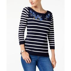 Karen Scott Floral-Patch Sweater, Created for Macy's ($47) ❤ liked on Polyvore featuring tops, sweaters, intrepid blue combo, slim fit sweaters, floral sweater, blue floral sweater, patch sweater and floral stripe top