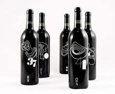 The wine labels, devised by designer Rob Schellenberg, are based on the longitudes of Italy and its famous wine regions. Depending on the degrees north, the wine region was associated with a numerical logo and topographic map.