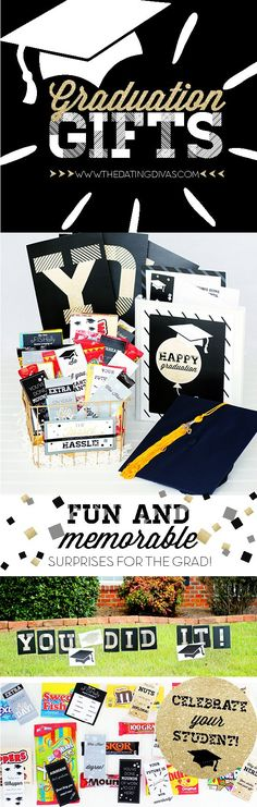 DIY unique graduation gifts - ways to surprise your graduating senior - graduation party decoration ideas - gender neutral gifts for the graduate - free printables and homemade handmade options for graduation - class gifts - class gift ideas - presents Unique Graduation Gifts, Graduation Diy, Grad Gifts, Diy Gifts, Graduation Letters, Graduation Celebration, Homemade Gifts, Candy Gift Baskets, Candy Gifts