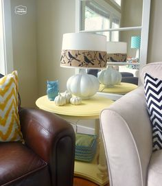 Change a lamp for fall by wrapping burlap ribbon around the shade Fall at thehappyhousie