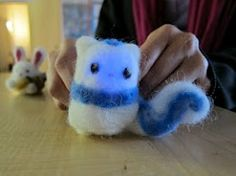 Mindy and I made light-up needle-felted animals.