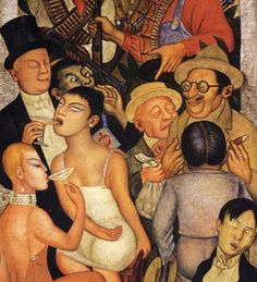"""Detail """"Night of the Rich"""", 1928 - Diego Rivera Diego Rivera Frida Kahlo, Frida And Diego, Latino Artists, Mexican Artists, Statues, Jesus Birthday, Naive Art, Oeuvre D'art, Art Pictures"""