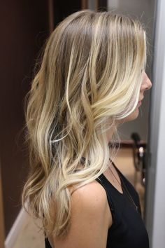 medium blonde with light blonde thin highlights and then more pronounced highlights framing the face