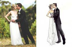 25 Unforgettable Illustrated Wedding Portraits | OneWed