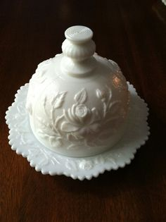 glass butter dome | Imperial Milk Glass Butter Dish Dome Rose Pattern by FrannieBee
