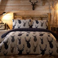 Home Collection Navy 'Highland Stags' brushed cotton flannelette bedding set- at Debenhams.com