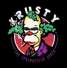 Krusty Joker T Shirt. Springfield's favorite clown depicted as Gotham's infamous villain. The Simpsons and Batman crossover. Simpsons Drawings, Simpsons Art, Watch Cartoons, 90s Cartoons, Krusty The Clown, Hippie Painting, Joker T Shirt, Clown Tattoo, Simpsons Characters
