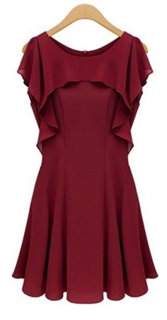 Chic Round Neck Chiffon Splicing A Line Dress - Red
