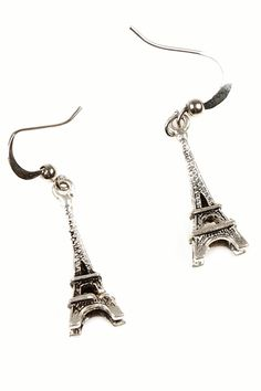Silver Moon Eiffel Tower Platinum Polished Plated Stunning Earrings Gift
