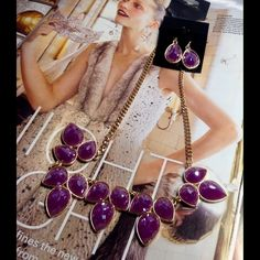 Lilac Shimmer Necklace Set This beautiful set features purple cabochons on gold tone sturdy chain, includes 1 inch earrings. Measures: 18 inches long. (This closet does not trade or use PayPal) Jewelry Necklaces