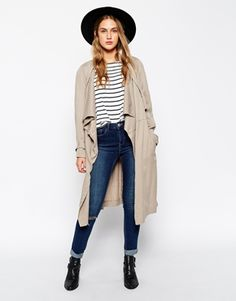 ASOS Trench With Soft Waterfall Drape