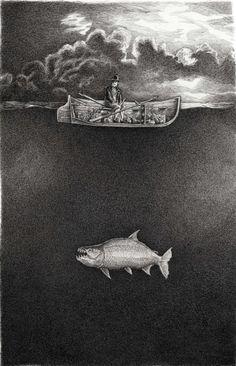 William Kurelek, Canoe Pictures, Boat Drawing, Ship Paintings, Tug Boats, Pen Art, Sign Printing, Drawing People, Moonlight