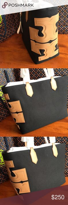 NWT TORY BURCH TOTE! NWT TORY BURCH TOTE! Black and Tan! Canvas tote with Tory Burch logo on the side! Retails for $275! Brand new never used! Open to offers! Tory Burch Bags Totes
