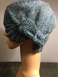 """Retro Style Hand Knit Winter Slouch/Cloche Hat with Knit Bow, Fits Heads 18-20"""", 8"""" H, Medium Blue Denim Color, Wool, Fast Shipping Colored Denim, Blue Denim, Cloche Hat, Retro Style, Hand Knitting, Retro Fashion, Knitted Hats, My Design, Cotton Fabric"""