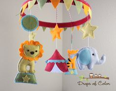 """Baby Crib Mobile - Baby Mobile - Circus Mobile -  Animals in the Circus """"The big tent and the circus"""" (You can pick your colors). $110.00, via Etsy."""