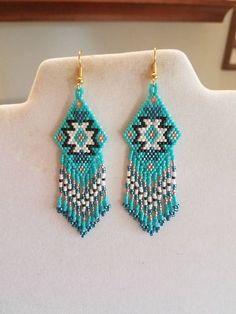 Native American Style Beaded Rug Earrings Black Turquoise