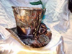 JuJu Crafts: Handmade Steampunk Top Hat (TopHat ) Treasure Box - ( using Tim Holtz circle die, alcohol inks and rivet embossing folder )