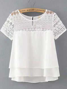 New 2016 Summer Fashion Short Sleeve Women Chiffon Blouse Fashion O-neck Plus Size Lace blouses shirts casual Tops blusas(China (Mainland)) Casual Outfits, Summer Outfits, Cute Outfits, Casual Shirt, Office Outfits, Women's Casual, White Lace Shorts, Mode Top, Mode Inspiration