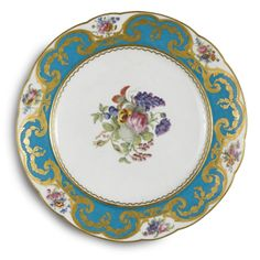 A SEVRES BLEU CELESTE-BORDERED PLATE 1783 3,000 — 5,000 USD LOT SOLD. 7,500 USD (Hammer Price with Buyer's Premium)