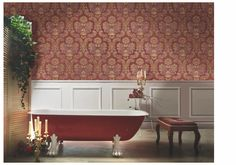 Red, the colour of fire and blood, a colour that ignites an array of emotions. From feelings of passion to associations with aggression and even danger. This is a perfect accent colour. Damask Wallpaper, Wallpaper Paste, Colors Of Fire, Prune, Piece A Vivre, Clawfoot Bathtub, Accent Colors, Leroy Merlin, Home