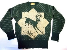 Vintage 1940's Wool Sweater Ski Deer Made By Welgrume Sportswear