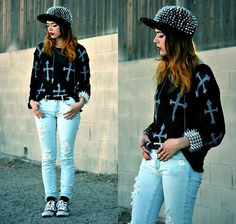 Kendall Kay - Spiked Hat, Double Cross Necklace, Crosses Sweater, Spike Bracelet, Ripped Jeans, Converse - .Dare 2 Double Cross Me.