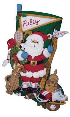 "Sports Santa 18"" Bucilla Christmas Stocking, PERSONALIZED by JustSayItBaby on Etsy"