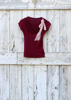 Burgundy Beauty with Bling upcycled Gap red by wearlovenow on Etsy, $28.00