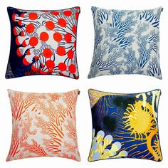 The new #merivuokko and #meriheina pillows are colorful and perfect for summer! Available at https://www.spotitbuyit.com/kiitosmarimekko/posts/5544f77669702d2a329a2400/