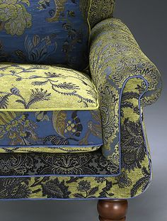 """""""Shelburne Cornflower Chair"""" Upholstered Chair & Pillow Created by Mary Lynn O'Shea.how about Chinese Silk? Chair Pillow, Diy Chair, Chair Upholstery, Chair Fabric, Upholstered Furniture, Chair Bench, Hammock Swing Chair, Swinging Chair, My Living Room"""
