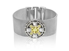 Just Cavalli Light Green Crystal Cuff Bracelet in Sterling Silver-Plated Stainless Steel