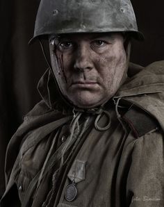 Self photo of Czech photographer Boris Moskovský as a WW2 soldier after taking around 25 trial shots