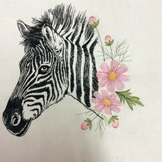Zebra and cosmos flowers at stitchdelight.net