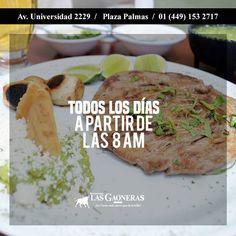Te esperamos en #LasGaoneras de Lunes a Domingo desde las 8:00 a.m. en Plaza Palmas av. Universidad 2229. (449) 153.2717 http://ift.tt/2dpEenO