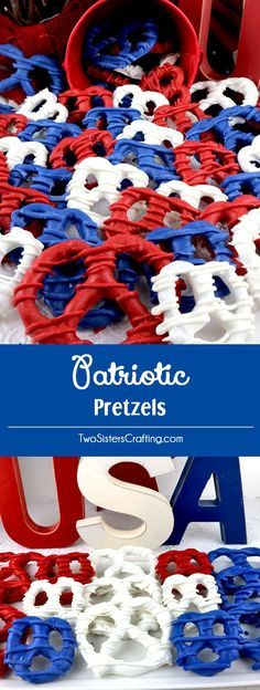 Patriotic Pretzels - yummy bites of sweet and salty Red White and Blue Fourth of July goodness that are super easy to make. They are perfect as a extra treat at a 4th of July party or a Memorial Day Barbecue. Pin this colorful 4th of July dessert for later and follow us for more fun 4th of July Food Ideas.