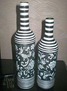 Garrafas decoradas com estampa e linhas                                                                                                                                                      Mais