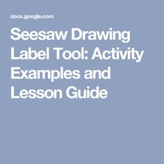 Seesaw Drawing Label Tool: Activity Examples and Lesson Guide