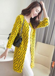 Geometric Chic Cardigan.  Yellow Retro Print Faux Fur Cardigan