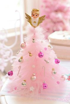 Pink vintage tulle mini Christmas tree with angel topper