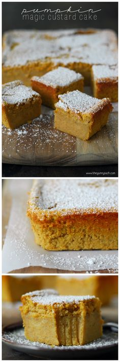 This Pumpkin Magic Custard Cake recipe is like pumpkin pie without the crust. It has a smooth custard layer topped with light, airy cake. Try making this dessert for your Thanksgiving or Christmas holiday dinner. Pumpkin Recipes, Fall Recipes, Sweet Recipes, Holiday Recipes, Thanksgiving Recipes, Just Desserts, Delicious Desserts, Dessert Recipes, Yummy Food
