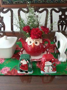 My Christmas teapot florals