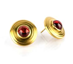 Garnet and 18k gold earrings by ENA Fine Jewelry - January birthstone