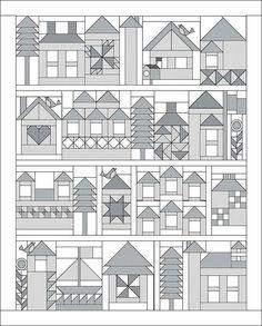 제목이 이웃집이라는 퀼트패턴이예요~^^ 하우스 패턴이 모이니 마을이 되었어요! 원단회사 모다의 무료배포...