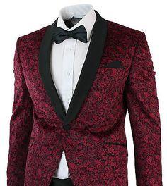 Mens-Slim-Fit-Velvet-Paisley-Blazer-Trouser-Tuxedo-Dinner-Suit-Wine-Black