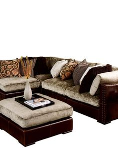 Marvelous Chenille Leather Sectional Sofa Horchow Beautiful Couch