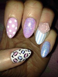 Pink blue cakepop creekside shellac calgel stripes polka dots flower glitter lecente nails NailArt leopard print pastel MyNails xx