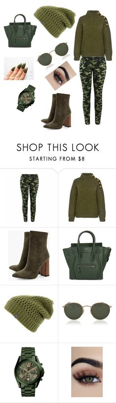 """Untitled #200"" by fashionpassionate ❤ liked on Polyvore featuring Boutique Moschino, Boohoo, CÉLINE, The North Face, Ray-Ban and Michael Kors"