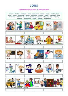 Jobs - labelling activity worksheet - Free ESL printable worksheets made by teachers English Fun, English Lessons, Learn English, Education English, Teaching English, English Activities, Activities For Kids, 1st Grade Worksheets, Printable Worksheets