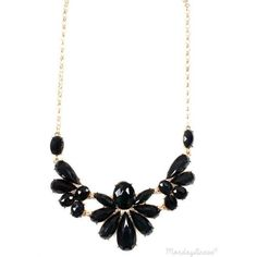 Black Floral Statement Necklace ❤ liked on Polyvore